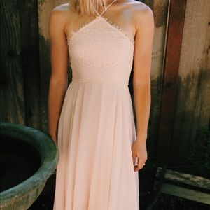Long pink dress, perfect for being a bridesmaid